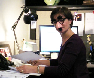 Woman with Groucho Marx mask
